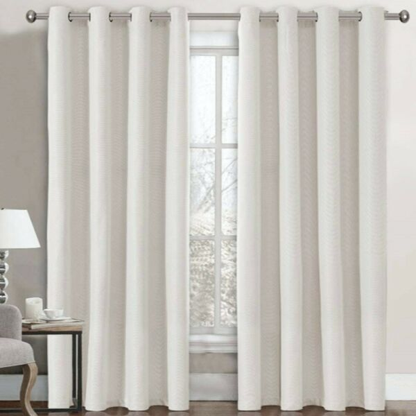 Textured Linen Burlap Thermal Curtains Room Darkening 52quot; x 96quot; Ivory. 2 Panels