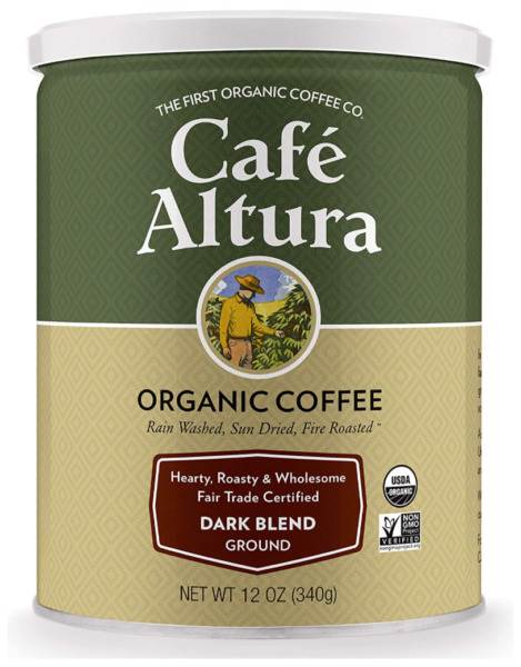 Cafe Altura Ground Organic Coffee Fair Trade Dark Blend 12 Ounce Pack of 3