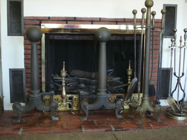 Antique Cannonball Heavy Estate Fireplace 30quot; TALL Andirons 38quot; TALL Tool Set