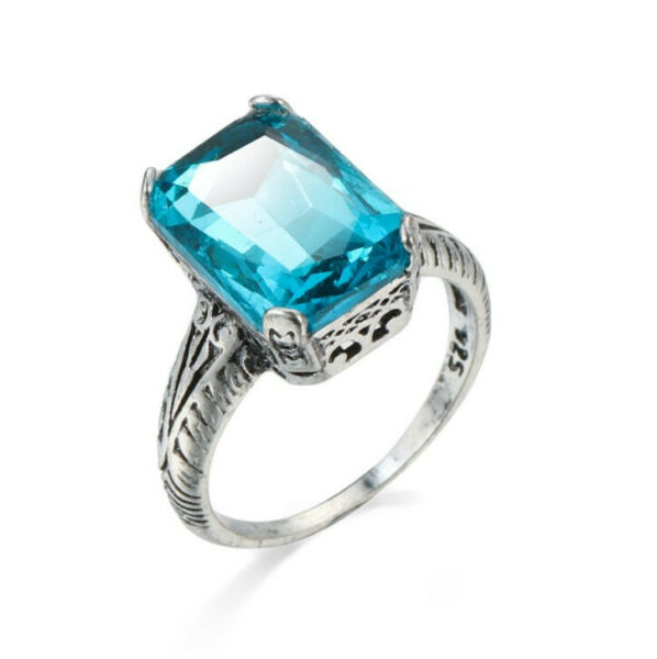 Antique Shine Natural Square Sky Blue Topaz Gemstone Silver Rings Size 6 10