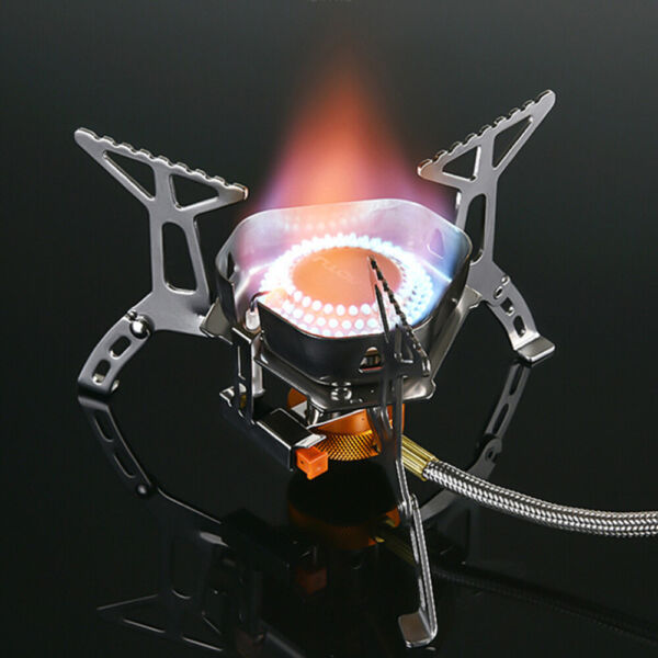 Outdoor Windshield Camping Gas Stove Foldable Cooking Split Burner Stand Holder
