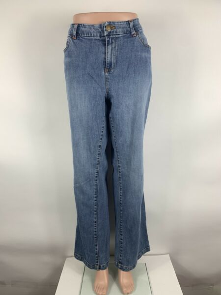 Tommy Hilfiger Womens Jeans 16 Mid Rise Med Wash Bootcut Distressed $23.51