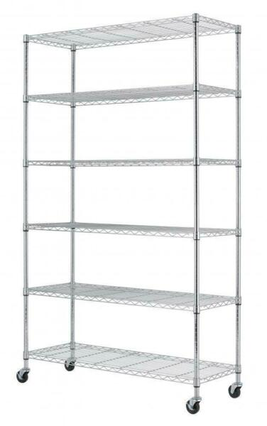"Wire Shelving Unit NSF Metal Shelf Rack New 6 Tier 2100 LBS Capacity 18""x48""x82"""
