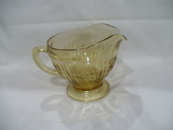 Vintage 1930#x27;s Federal Amber Glass Sharon Cabbage Rose Pattern Footed Creamer
