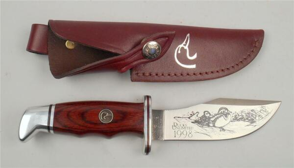 DUCKS UNLIMITED 1998 FIXED BLADE quot; BUCK quot; HUNTING KNIFE WITH LEATHER SHEATH