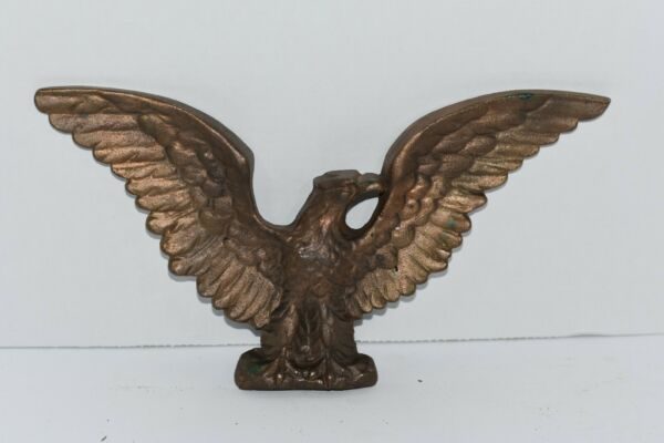 Antique Cast Iron Gold Painted Eagle Wall Hanging Statue
