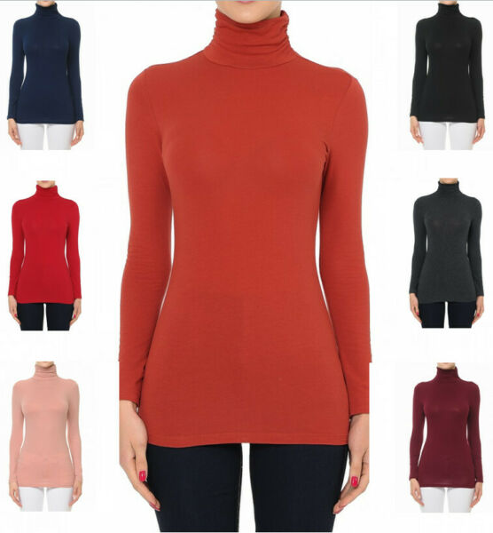 Women#x27;s Funnel Neck Turtle Neck Long Sleeve Cotton Jersey Top