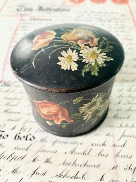 Antique Box with Lid Black Tole Pretty Floral Design Handpainted Beautiful