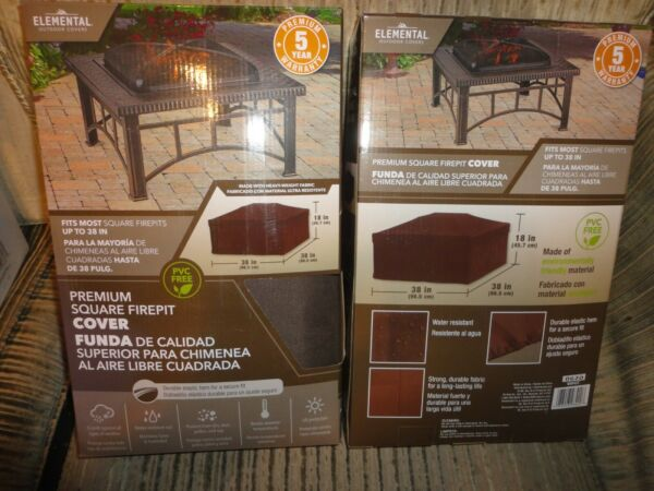 New elemental outdoor covers premium square firepit cover brown 38quot; x 38quot; x 18quot; $12.00