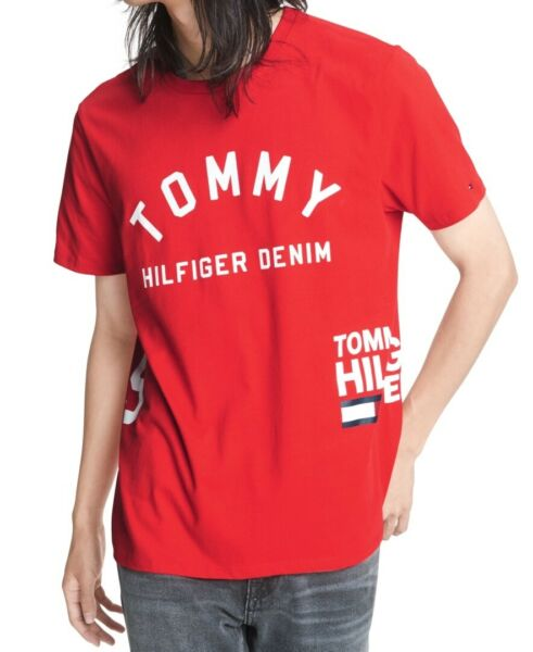 Tommy Hilfiger Mens Shirt Red Size Medium M Graphic Denim Carmel Logo $39 #108 $19.97