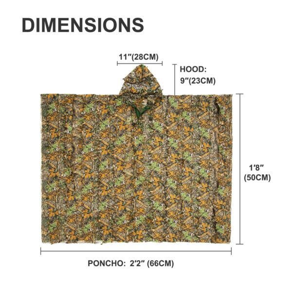 Ghillie Suit 3D Bionic Camouflage Poncho for Men Women Hunting Photography More