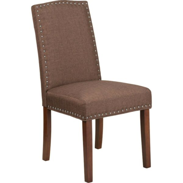 Flash Furniture Brown Fabric Upholstered Parsons Chair with Silver Nail Trim $117.13