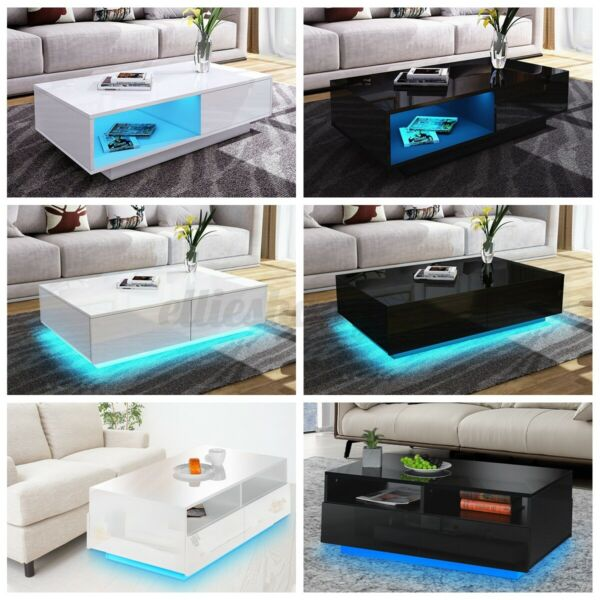 RGB LED High Gloss Coffee Table with Drawers Storage Modern Sofa Side End Table