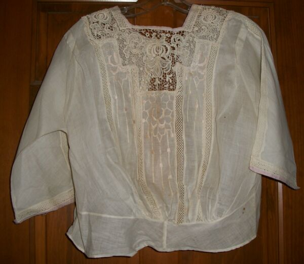 Original Victorian Lace and Cotton Pigeon Breasted Bodice 1