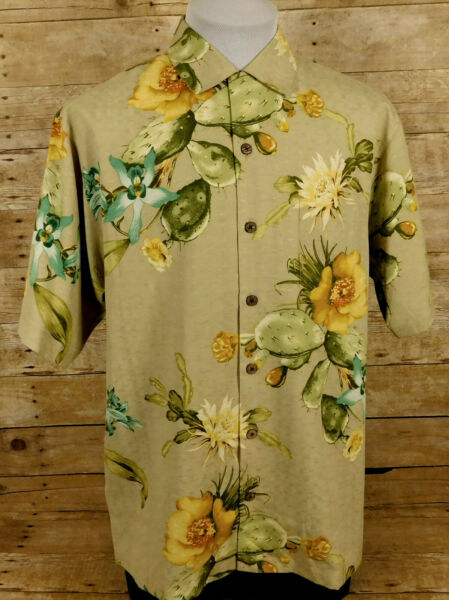 Tommy Bahama Hawaiian Shirt Mens Small Short Sleeve Silk Floral Cactus $19.99