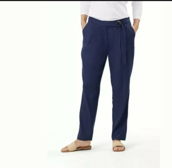 NWT Tommy Bahama Women#x27;s Pants Willa Linen Stretch Island Navy Size 4 $43.33