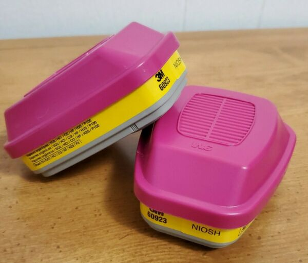 3M 60923 ACID GAS REPLACEMENT RESPIRATOR CARTRIDGE FILTER NIOSH YELLOW MAGENTA