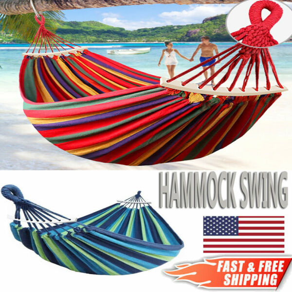 2 Person Double Camping Hammock Chair Bed Outdoor Hanging Swing Sleeping Gear $24.99