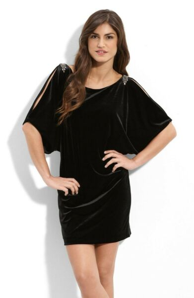 Aidan Mattox Cutout Sleeve Velvet Dress 4 Nwot New Womens Black Mini Dresses