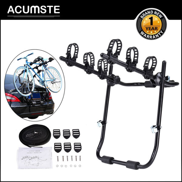 Trunk Mount 3 Bike Rack Bicycle Carrier Hatchback SUV Car Outdoor Qucik Release $46.99