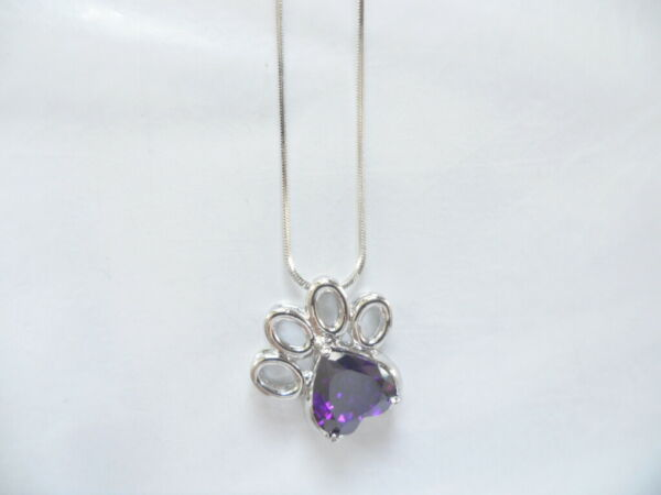 Dog Paw Zircon Pendant Necklace High Quality Delicate Gift $9.99