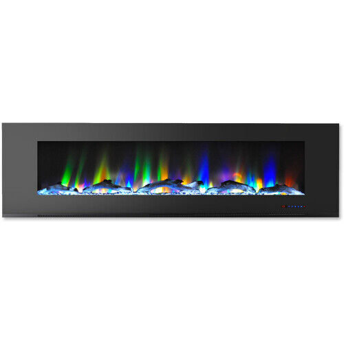 Cambridge CAM72WMEF 2BLK 72 In. Wall Mount Electric Fireplace in