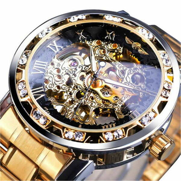 Luxury Mens Stainless Steel Gold Tone Skeleton Automatic Mechanical Wrist Watch $22.48
