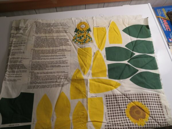 Vintage Panel quot;Sunflower Doll quot; Cut and Sew  rare