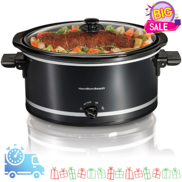 Hamilton Beach Large Slow Cooker Crock Pot 8 qt Oval Crockpot Black Red Stone