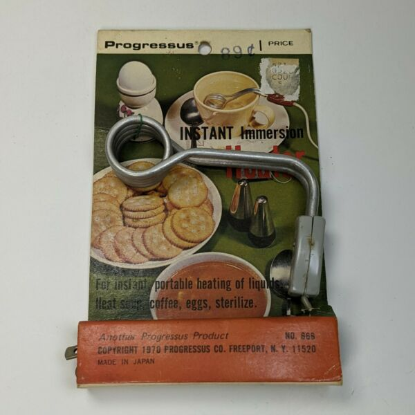 RARE VINTAGE INSTANT IMMERSION HEATER By Progressus #666 new in package 1970 $16.82