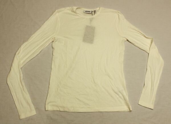 Weekday Women#x27;s Alice Rib Long Sleeve Knit Top MP7 White Light Small NWT