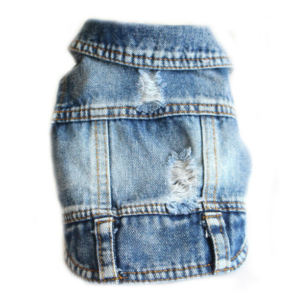 Pets Clothes New Vest Jean Cool Hoodie Soft Denim Cute Coat Jacket For Puppy Dog $14.99