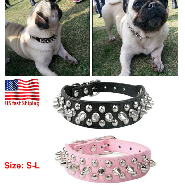 Pet Dog Studded Collar PU Leather Dog Collars Adjustable Spiked for Puppy Kitten $8.99