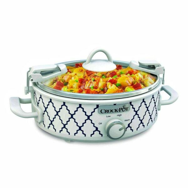 Mini Casserole Crock Slow Cooker 2.5 Quart White Blue
