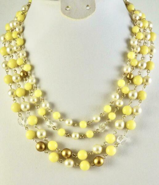 Vintage 4 Strand Yellow Pearl Crystal Bead Graduated Necklace