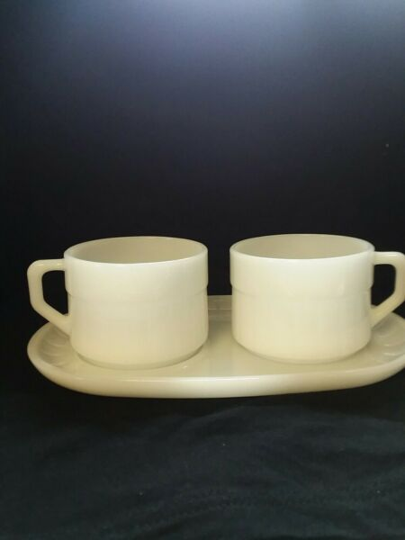 Vintage Federal Milk Glass Ribbed Soup amp; Sandwich Snack Tray and two cups