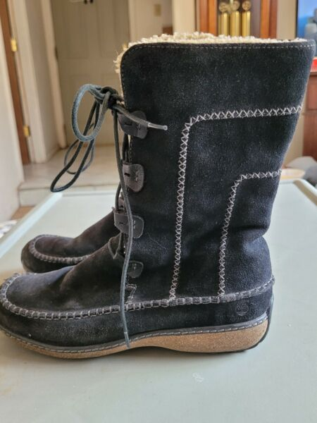 Timberland Womens Boots Shoes SZ 6M Black 95390 Winter Suede $50.00