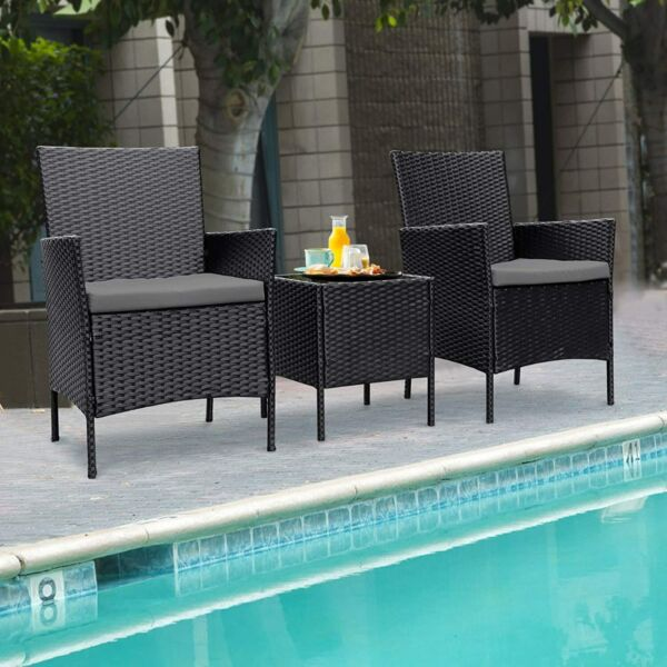 3PCS Wicker Rattan Patio Set 3 Pieces Outdoor Patio Furniture Set w Cushions