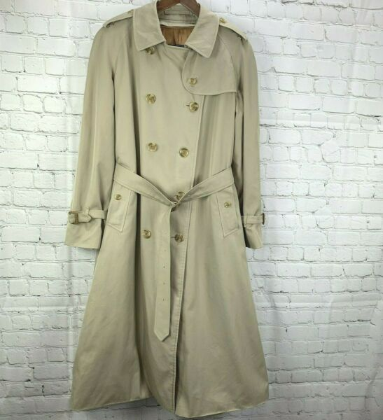 Vintage Burberry Trench Coat size 14 Long Women Zip Out Wool Lining Haymarket $174.99