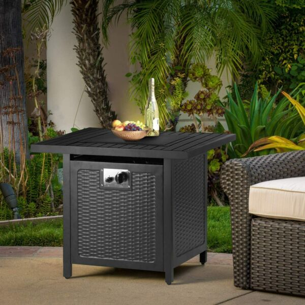 30quot; Propane Gas Fire Pit w Waterproof Table Cover Auto Ignition 50000 BTU