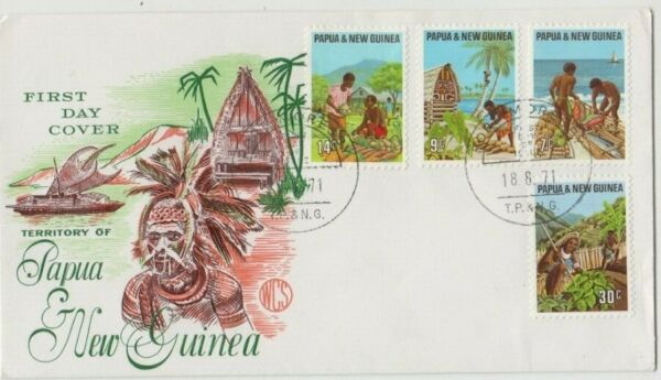 Stamps Papua New Guinea 1971 local produce set of 4 on WCS Wesley cachet FDC