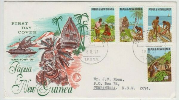 Stamps Papua New Guinea 1971 local produce set of 4 WCS Wesley blue cachet FDC