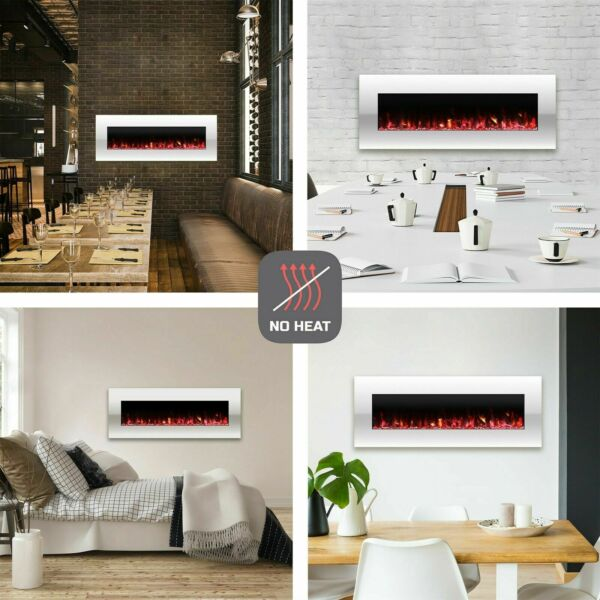 Electric No Heat White Fireplace Color Changing LED Wall Mount Remote 50 Inch $249.99