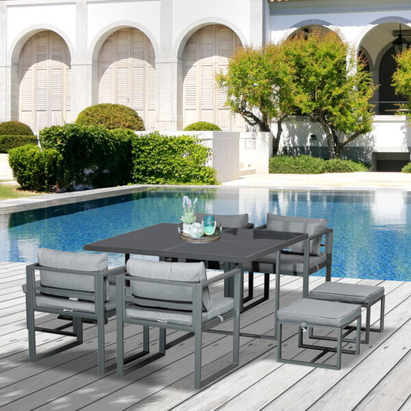 9pc Backyard amp; Deck Outdoor Table Set w Comfort Cushions amp; Aluminum Frame $709.99