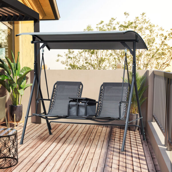 2 Person Steel Outdoor Porch Swing Chair Patio Bench w Storage Canopy Grey