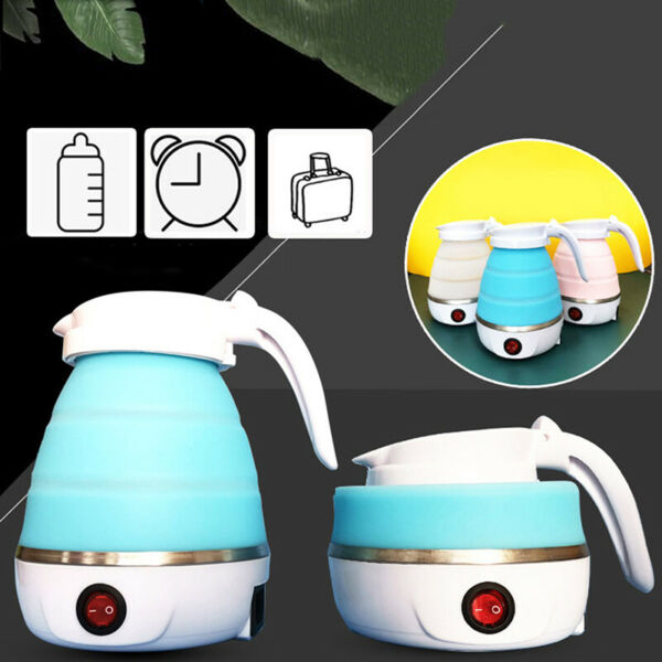 Foldable Electric Kettle Mini Portable Collapsible Travel Silicone Water Boiler $26.74