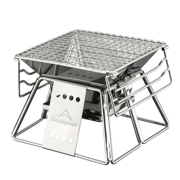 BBQ Barbecue Charcoal Portable Folding Stainless Grill Steel Outdoor Camping US