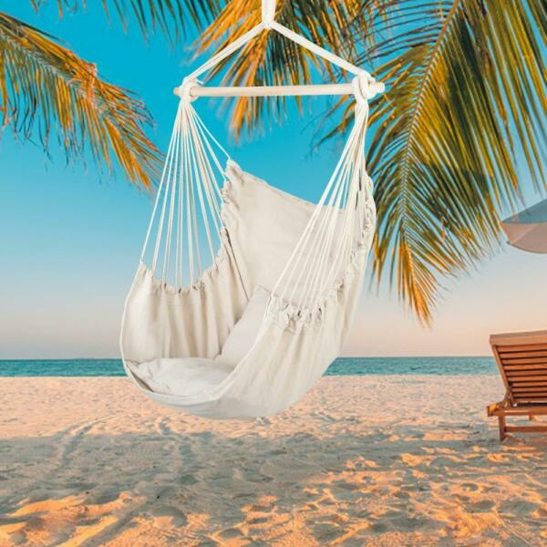 Hammock Swing Chair Hanging Rope Chair Cotton Porch Seat Seating With 2 Pillows $25.55