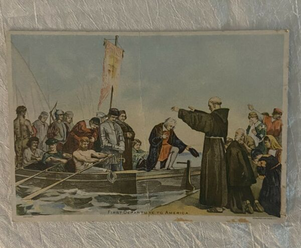 Antique Gold Band Coffee Trade Card 1st Departure 2 America Christopher Columbus