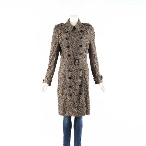 Burberry Trench Coat Brown Lace Cotton Belted Double Breasted SZ 48 $450.00